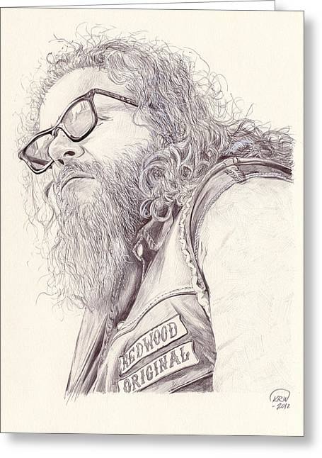 Kim Drawings Greeting Cards - Robert Bobby Munson Greeting Card by Kyle Willis
