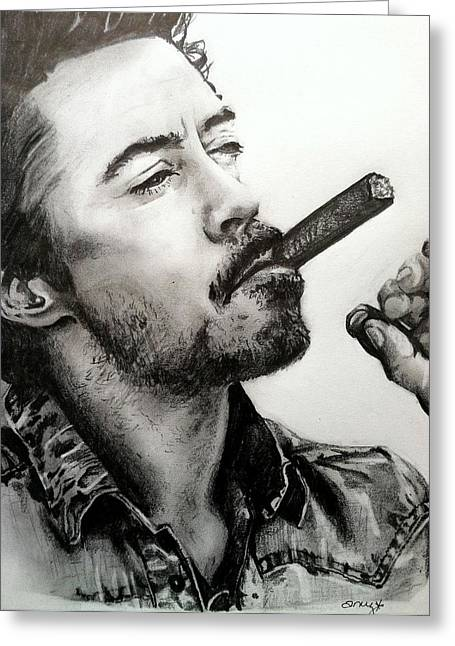 Hairy Drawings Greeting Cards - Robert Downey Jr. Greeting Card by Amy Albright