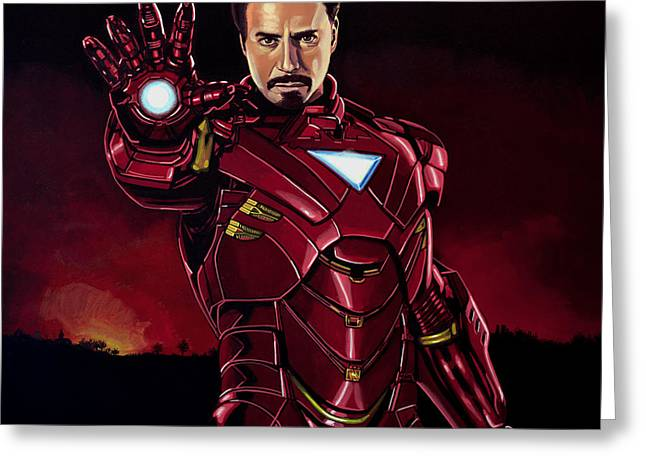 Marvel Comics Greeting Cards - Robert Downey Jr. as Iron Man Greeting Card by Paul  Meijering