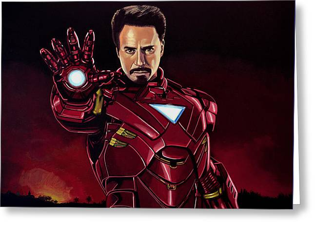 Iron Man Greeting Cards - Robert Downey Jr. as Iron Man Greeting Card by Paul  Meijering