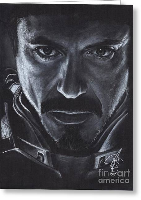 Iron Drawings Greeting Cards - Robert Downey Jr.  Greeting Card by Rosalinda Markle