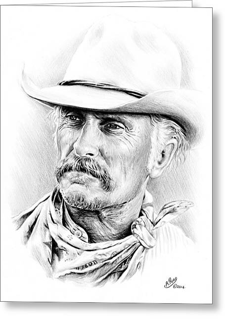 All American Drawings Greeting Cards - Robert Duvall Greeting Card by Andrew Read