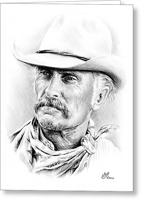 Famous Faces Drawings Greeting Cards - Robert Duvall Greeting Card by Andrew Read