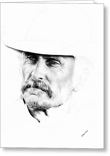 Movie Star Drawings Greeting Cards - Robert Duvall  1st draft Greeting Card by Andrew Read