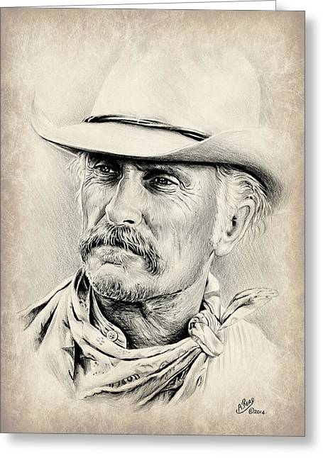 Universities Drawings Greeting Cards - Robert Duvall sepia scratch Greeting Card by Andrew Read