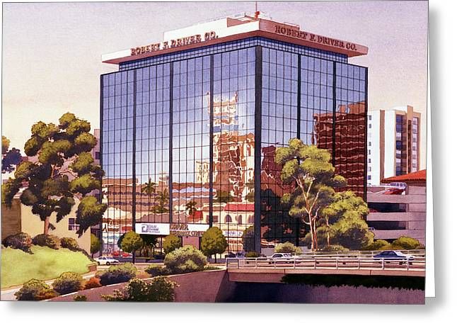 Auto Greeting Cards - Robert F Driver Building Greeting Card by Mary Helmreich
