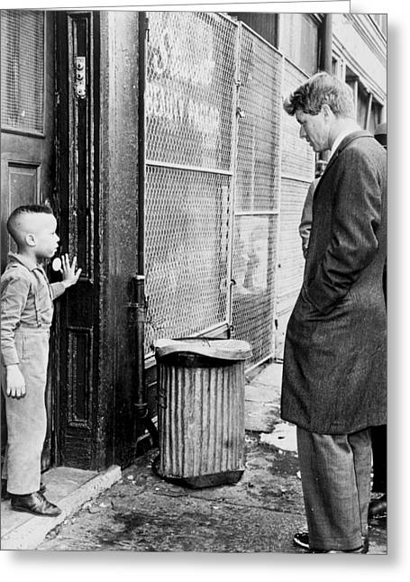 American Politician Greeting Cards - Robert F Kennedy with a Young Black Child 1960s Greeting Card by Mountain Dreams