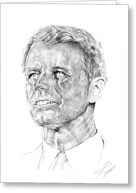 Attorney Drawings Greeting Cards - Robert Francis Kennedy  Greeting Card by  Gerald Piggott