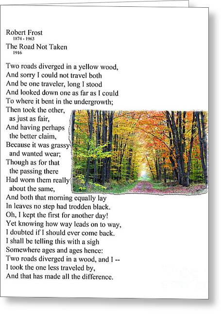 Robert Frost - The Road Not Taken Greeting Card by Ed Churchill