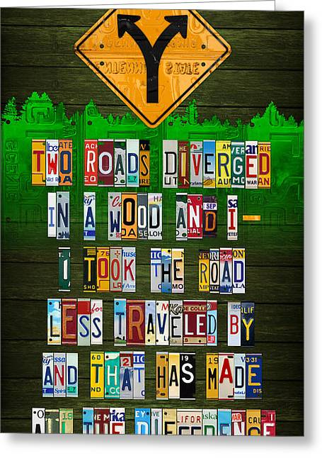 Taken Greeting Cards - Robert Frost The Road Not Taken Poem Recycled License Plate Lettering Art Greeting Card by Design Turnpike