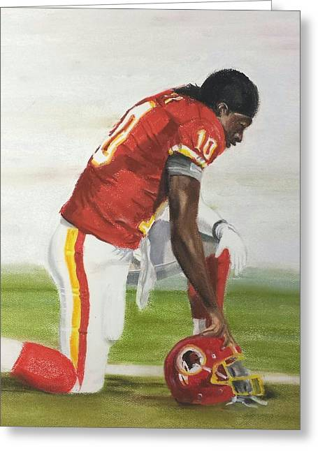 Football Pastels Greeting Cards - Robert Griffin 3 Greeting Card by Harry Speese