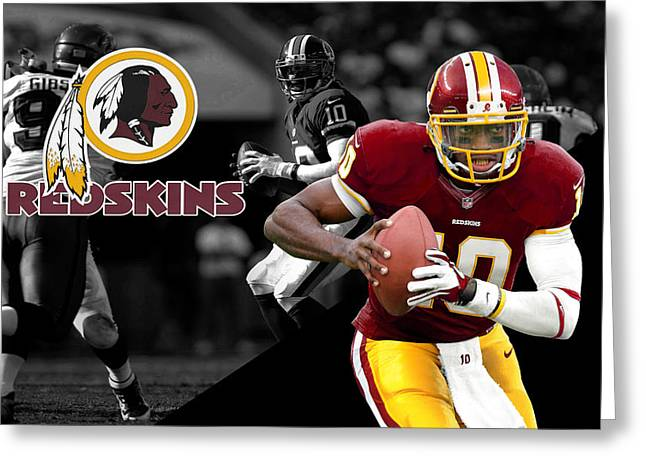 Griffin Greeting Cards - Robert Griffin Iii Redskins Greeting Card by Joe Hamilton