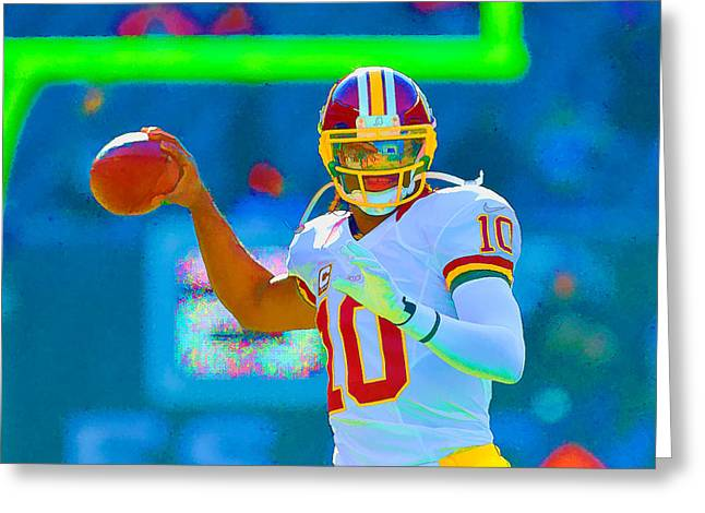 Rg Iii Greeting Cards - Robert Griffin III   RG 3 Greeting Card by William Jobes