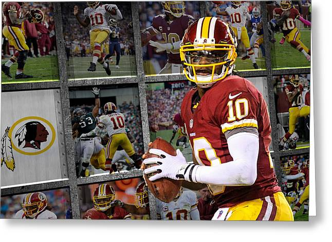 Griffin Greeting Cards - Robert Griffin Rg3 Washington Redskins Greeting Card by Joe Hamilton