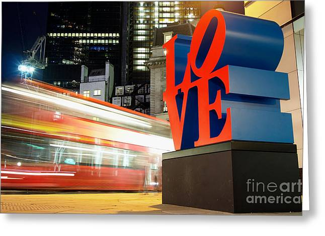 """robert Indiana"" Greeting Cards - Robert Indianas Love Sculpture in The City of London  Greeting Card by Mark Carnaby"