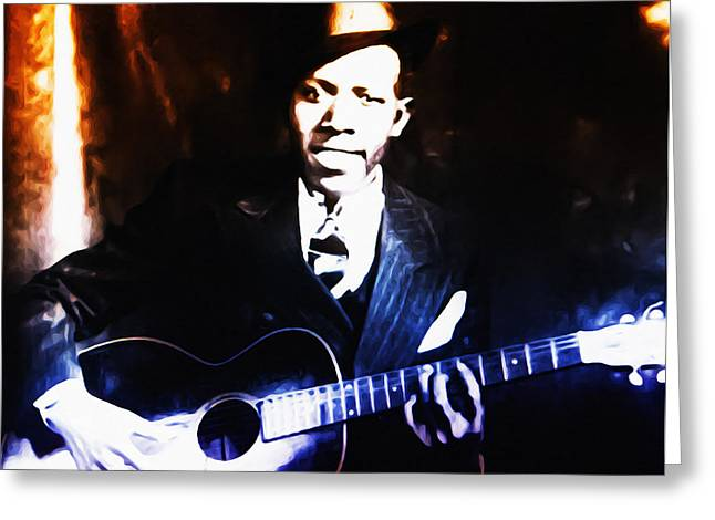 Juke Joint Greeting Cards - Robert Johnson - King of the Blues Greeting Card by Bill Cannon