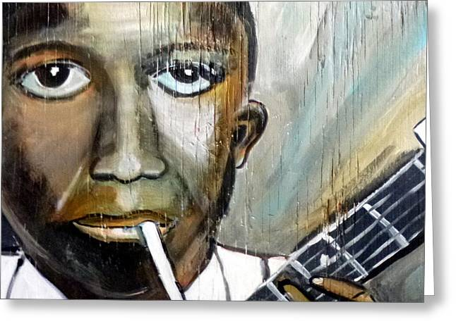 Robert The Devil Greeting Cards - Robert Johnson King of the Delta Blues Greeting Card by Debora PeaceSwirl D