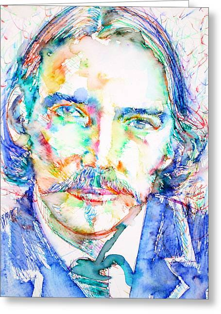 Stevenson Greeting Cards - ROBERT LOUIS STEVENSON - portrait Greeting Card by Fabrizio Cassetta