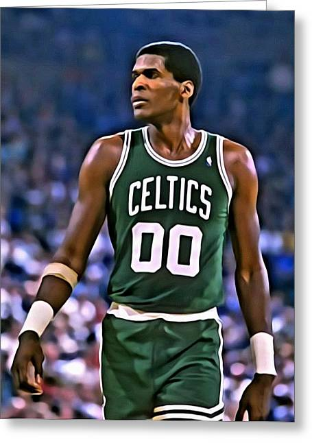 Chicago Bulls Greeting Cards - Robert Parish Portrait Greeting Card by Florian Rodarte