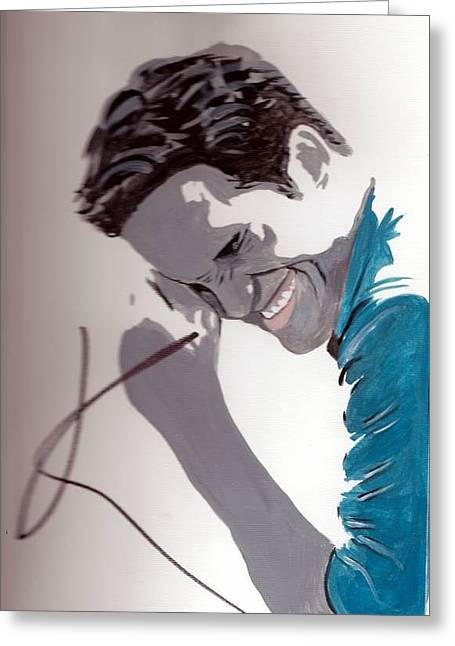 Autographed Paintings Greeting Cards - Robert Pattinson 48a Greeting Card by Audrey Pollitt
