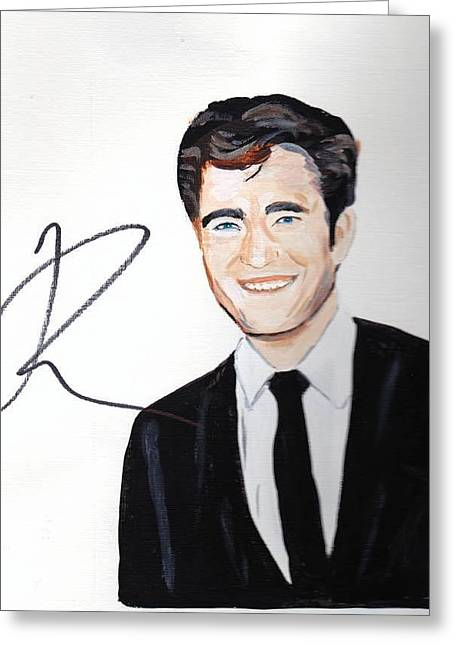 Autograph Paintings Greeting Cards - Robert Pattinson 64a Greeting Card by Audrey Pollitt