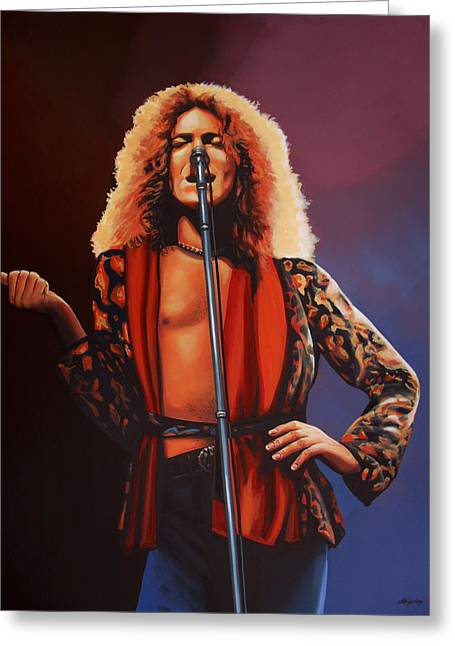 Metal Art Greeting Cards - Robert Plant of Led Zeppelin Greeting Card by Paul  Meijering