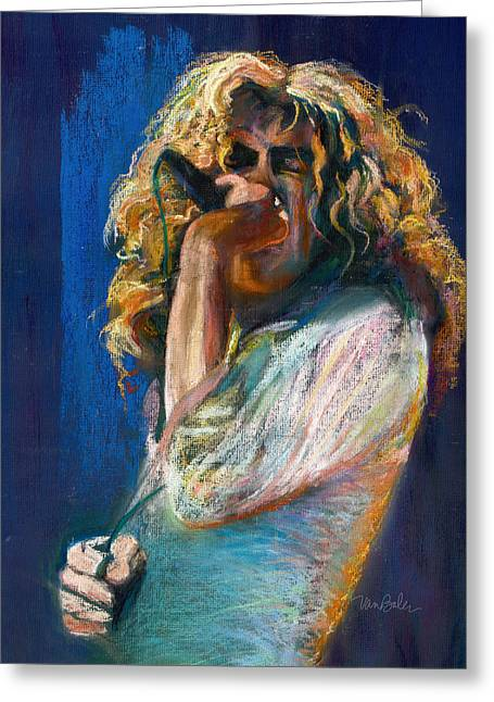 Celebrity Pastels Greeting Cards - Robert Plant Greeting Card by Laurie VanBalen