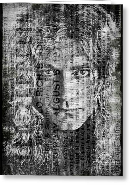 Led Zeppelin Artwork Greeting Cards - Robert Plant - Led Zeppelin Greeting Card by Absinthe Art By Michelle LeAnn Scott
