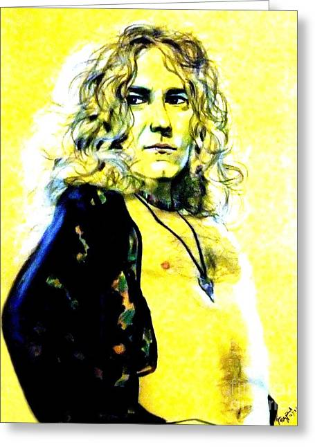 Chest Pastels Greeting Cards - Robert Plant of Led Zeppelin   Greeting Card by Jim Fitzpatrick