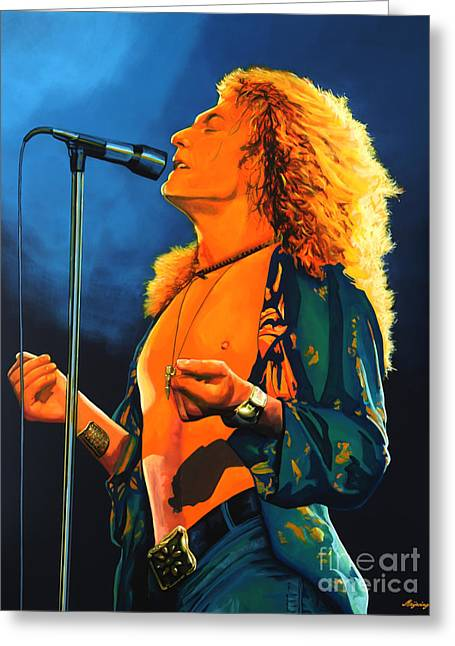 Singer Paintings Greeting Cards - Robert Plant Greeting Card by Paul  Meijering