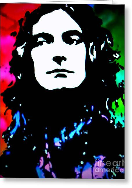Robert Plant Paintings Greeting Cards - Robert Plant Pop Art Greeting Card by Ryszard Sleczka