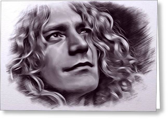 Robert Plant Digital Art Greeting Cards - Robert Plant Portrait Greeting Card by Scott Wallace