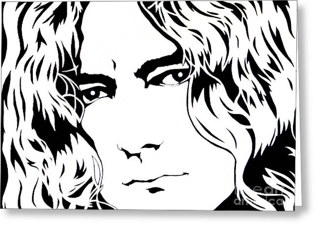 Robert Plant Paintings Greeting Cards - Robert Plant Greeting Card by Ryszard Sleczka
