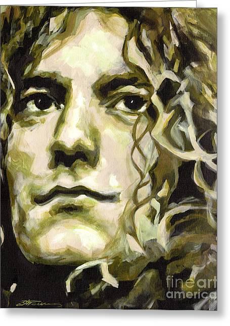 British Portraits Greeting Cards - Robert Plant. Golden God Greeting Card by Tanya Filichkin