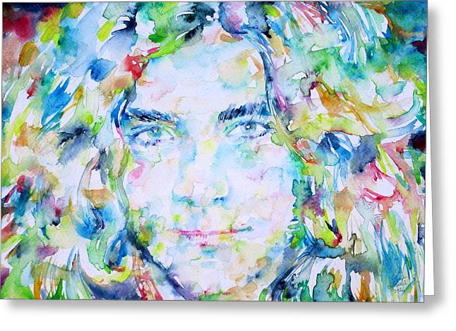 Robert Plant Paintings Greeting Cards - ROBERT PLANT - watercolor portrait Greeting Card by Fabrizio Cassetta