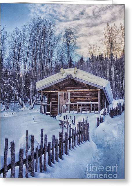 Winter Scene Photographs Greeting Cards - Robert Service Cabin Winter Idyll Greeting Card by Priska Wettstein