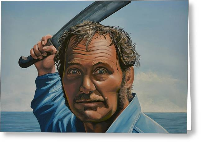 Work Paintings Greeting Cards - Robert Shaw in Jaws Greeting Card by Paul  Meijering