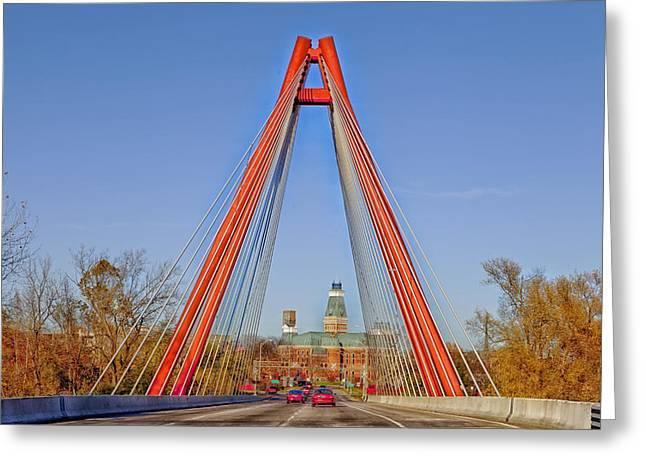 Indiana Autumn Photographs Greeting Cards - Robert Stewart Bridge - Columbus Indiana Greeting Card by Mountain Dreams