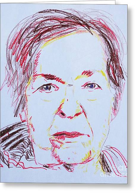 Characterization Greeting Cards - Robertas Portrait Greeting Card by PainterArtist FINs husband Maestro