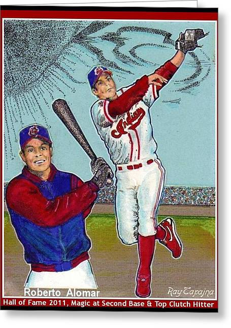 Power Hitter Mixed Media Greeting Cards - Roberto Alomar Hall of Fame Greeting Card by Ray Tapajna