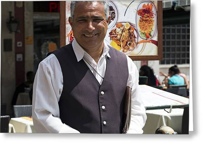 Lista Greeting Cards - Roberto at Ristorante Pedrocchi Venice Italy Greeting Card by Sally Rockefeller