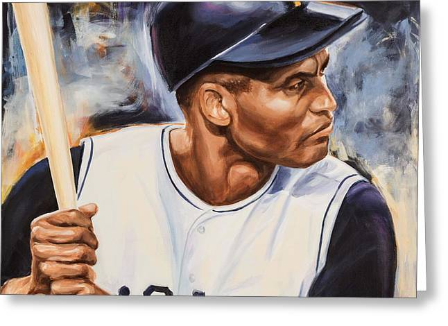 Roberto Clemente Paintings Greeting Cards - Roberto Clemente Greeting Card by Angie Villegas