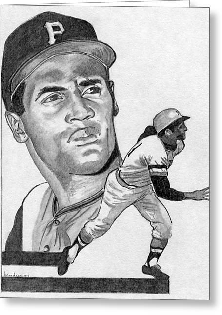 Pittsburgh Pirates Drawings Greeting Cards - Roberto Clemente Greeting Card by Brian Condron
