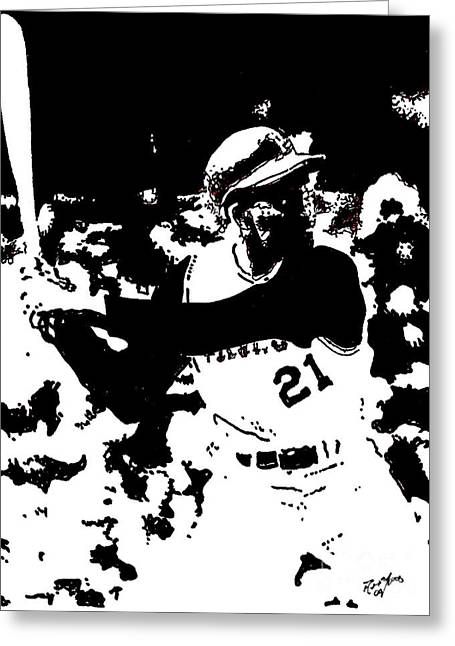 Pittsburgh Pirates Drawings Greeting Cards - Roberto Clemente drawing Greeting Card by Rob Monte