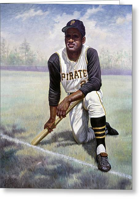Game Mixed Media Greeting Cards - Roberto Clemente Greeting Card by Gregory Perillo