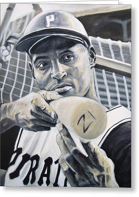 Roberto Clemente Greeting Card by Paul Smutylo