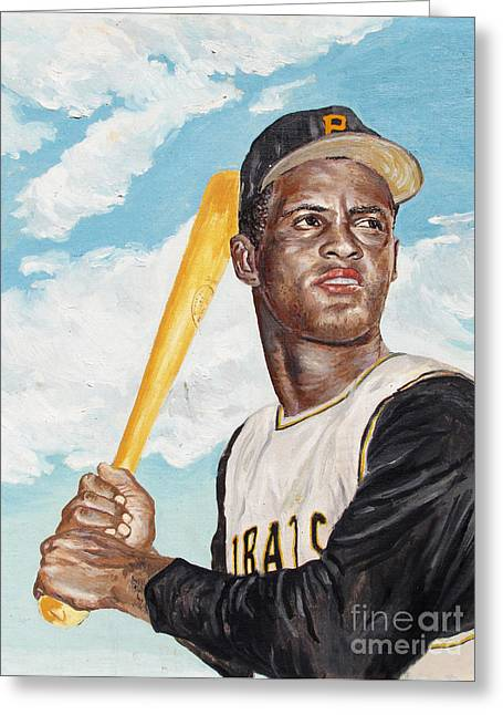 World Series Art Print Greeting Cards - Roberto Clemente Greeting Card by Philip Lee