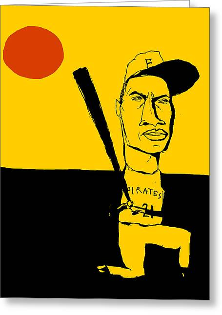 Roberto Clemente Paintings Greeting Cards - Roberto Clemente Pittsburgh Pirates Greeting Card by Jay Perkins