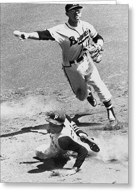 Roberto Greeting Cards - Roberto Clemente Sliding Greeting Card by Underwood Archives