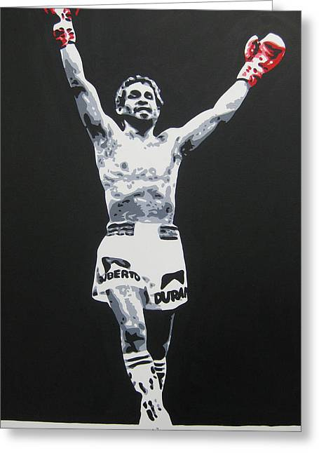 Roberto Greeting Cards - Roberto Duran 1 Greeting Card by Geo Thomson